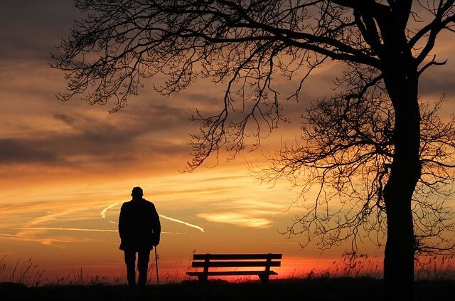 old man alone walking