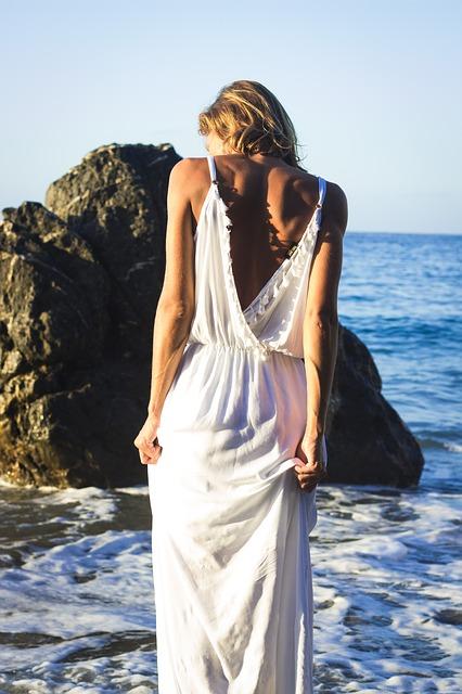 Alone girl near beach
